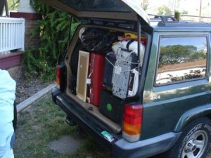 Jeep Cherokee trunk packed
