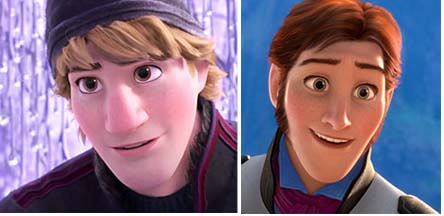 Animated male heroes Frozen Kristoff Hans